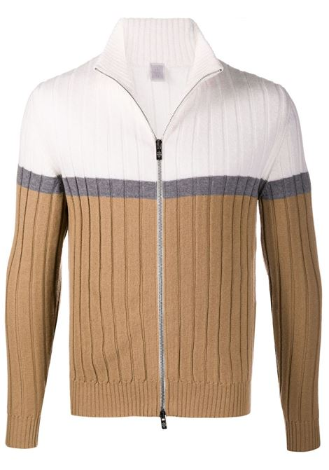 White and camel 100% wool ribbed knit zip-up jumper  ELEVENTY |  | B76MAGB16-MAG0B00501-14