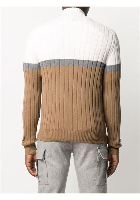 Maglione bianco e cammello con zip in maglia a coste 100% lana ELEVENTY | Maglieria | B76MAGB16-MAG0B00501-14