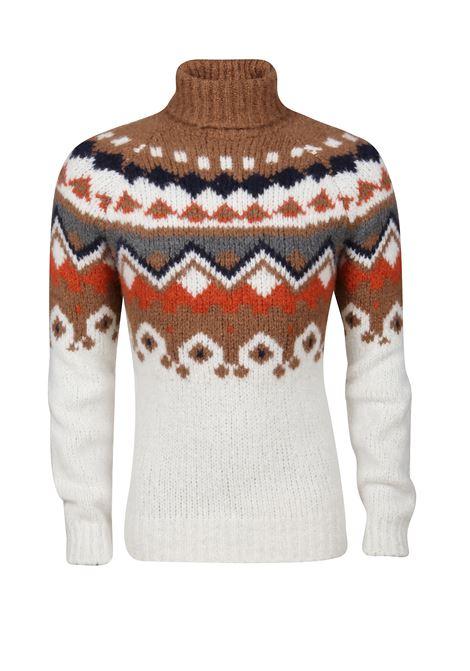 maglione girocollo in misto lana e cachemere in fantasia fair isle ELEVENTY | Maglieria Moda | B76MAGB18-MAG0B01600