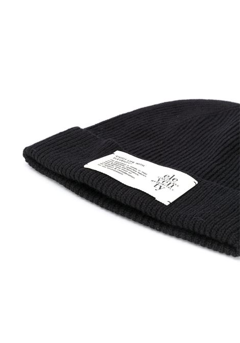 black cachemere beanie hat with front Eleventy logo patch ELEVENTY |  | B77CPLB07-MAG0B05022