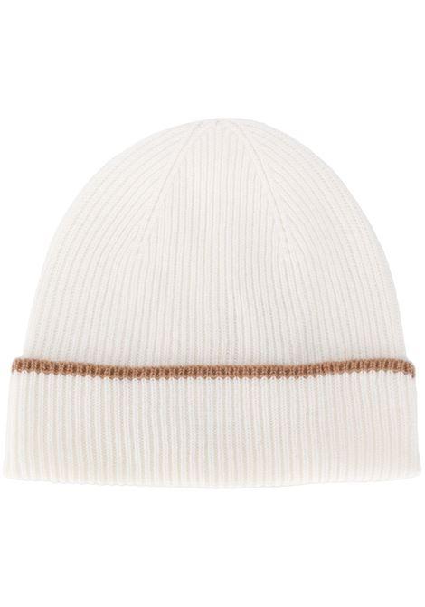 berretto in cachemere con bordo marrone ELEVENTY | Cappelli | B77CPLB07-MAG0B05301-04