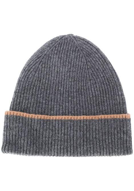 berreto grigio in cachemere con bordi a contrasto marroni con risvolto ELEVENTY | Cappelli | B77CPLB07-MAG0B05313-04