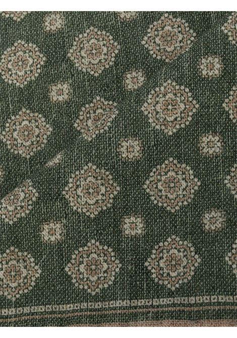 Pochette con stampa piastrelle in misto lana-cotone verde salvia e beige ELEVENTY | Pochette | B77POCA01-TES0B06007