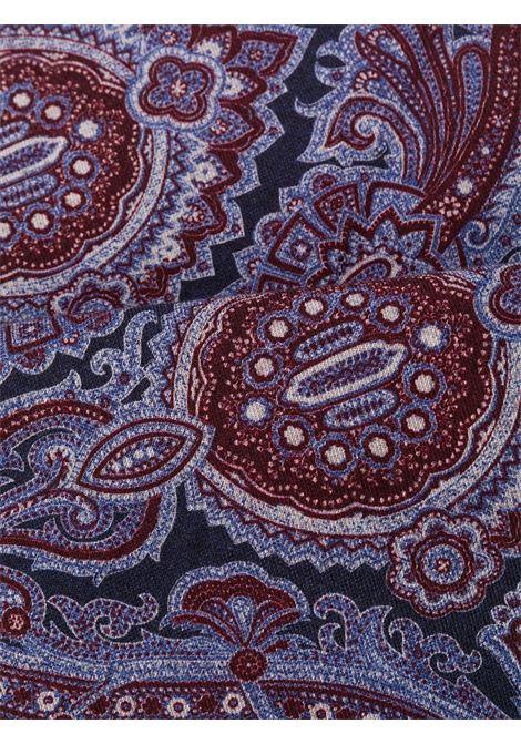 Fazzoletto da taschino bordeaux e blu navy in misto lana-cotone con stampa paisley ELEVENTY | Pochette | B77POCA01-TES0B06210