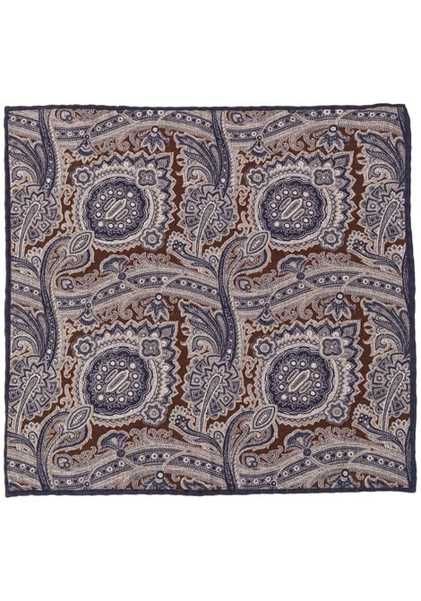 Brown grey and navy wool-cotton blend paisley-print pocket square  ELEVENTY |  | B77POCA01-TES0B06211