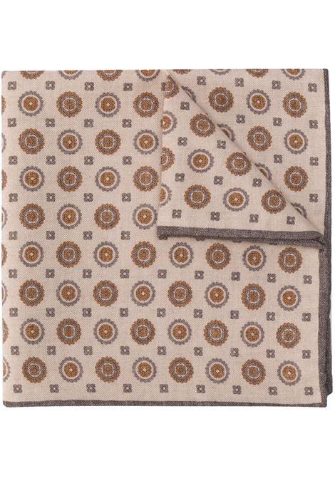 Fazzoletto da taschino beige e arancione con stampa piastrelle in misto lana-cotone ELEVENTY | Pochette | B77POCA01-TES0B06314
