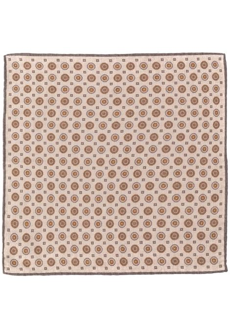 Beige and orange wool-cotton blend tile print pocket square featuring square shape ELEVENTY      B77POCA01-TES0B06314