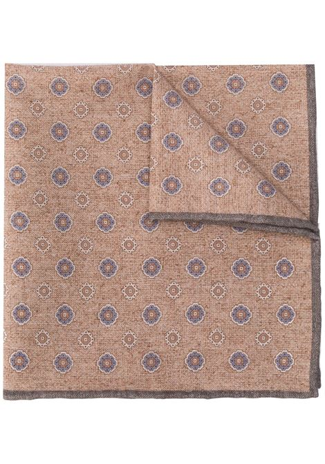 Beige cotton-wool blend tile-print pocket square ELEVENTY |  | B77POCA01-TES0B07102