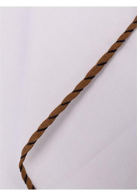 Pochette da taschino in cotone bianco con bordi marroni ELEVENTY | Pochette | B77POCA02-TES0B07404-11