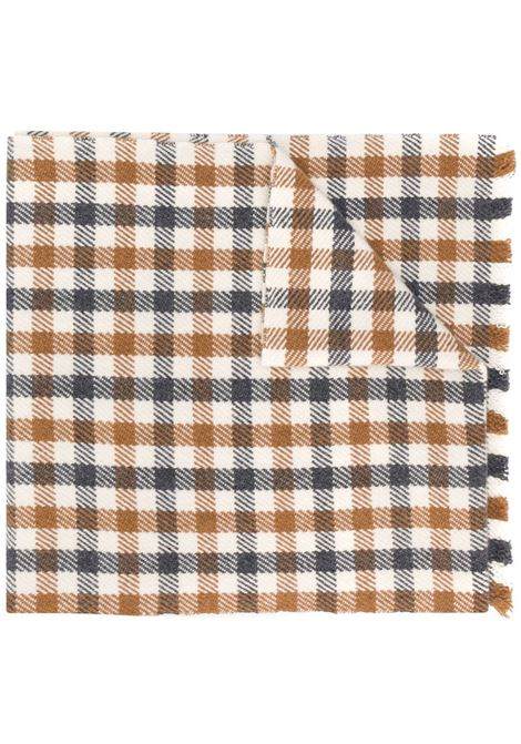 White brown and navy cashmere gingham scarf  ELEVENTY |  | B77SCIB03-TCH0B01000