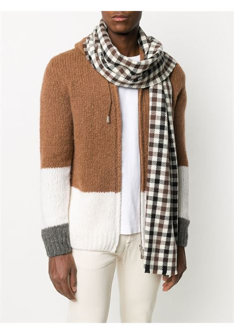 sciarpa 100% cashmere marrone nera e bianca con stampa check ELEVENTY | Sciarpe e foulards | B77SCIB03-TCH0B01005