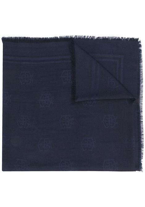 Sciarpa ricamata in misto cashmere e seta blu scuro ELEVENTY | Sciarpe e foulards | B77SCIB06-TES0B18711