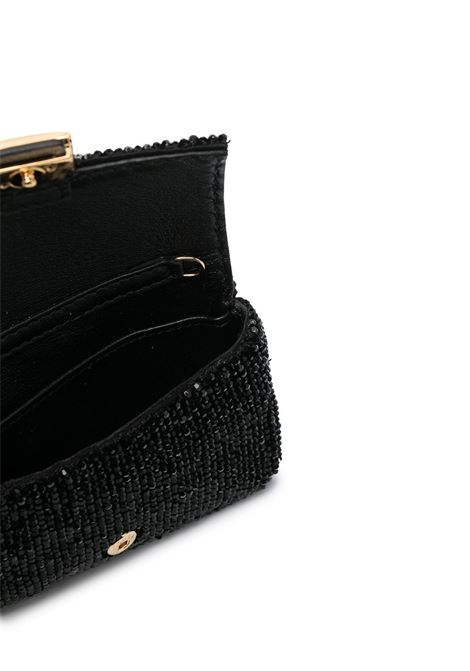 Black calfskin Nano Baguette clutch bag featuring crystal embellishment FENDI |  | 7AR844-ADC8F0KUR