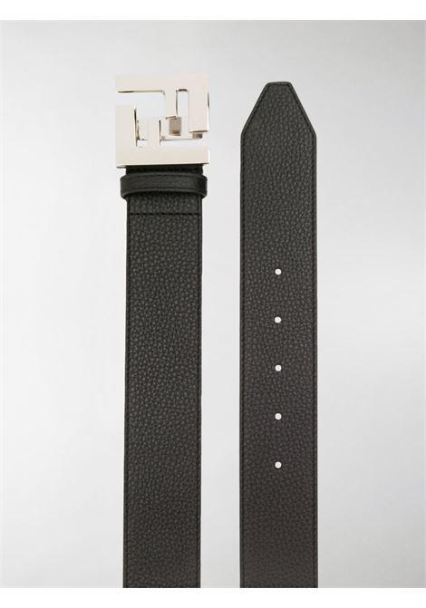 cintura in pelle nera 4cm con placca FF Fendi argentata FENDI | Cinture | 7C0403-SFRF0GXN