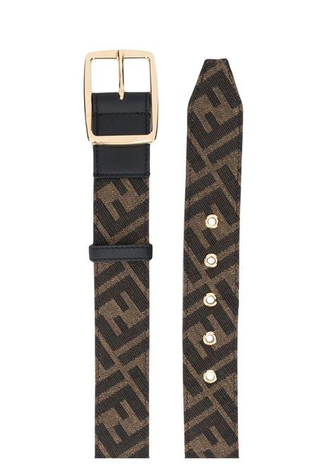 Cintura 3,5cm con stampa FF in pelle e tela marrone tabacco e nera FENDI | Cinture | 7C0434-AD23F17U4