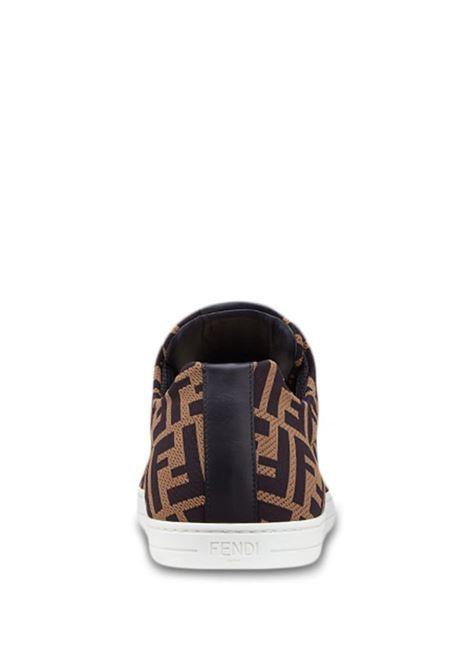 brown FF Fendi all over motif mesh lace-up sneakers   FENDI |  | 7E1258-A7MYF0R7R