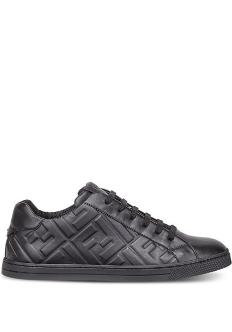 black lamb skin sneakers with all over embossed Fendi logo pattern. FENDI |  | 7E1374-ABNSF0ABB