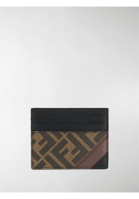 black and brown calf leather and cotton FF Fendi motif cardholder with rectangular body FENDI |  | 7M0164-A9XSF199B