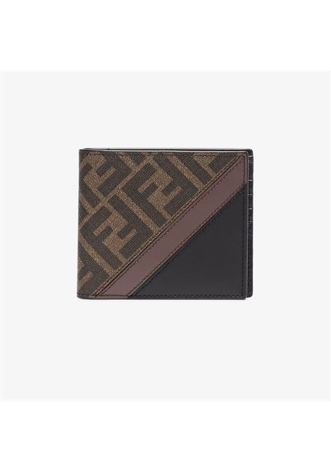 black and brown calf leather and cotton FF Fendi motif wallet FENDI |  | 7M0169-A9XSF199B