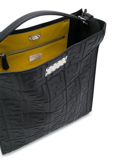 Borsa tote Peekaboo X-Lite Fit in pelle nera e gialla con motivo FF FENDI | Tote | 7VA447-A72VF0GXN