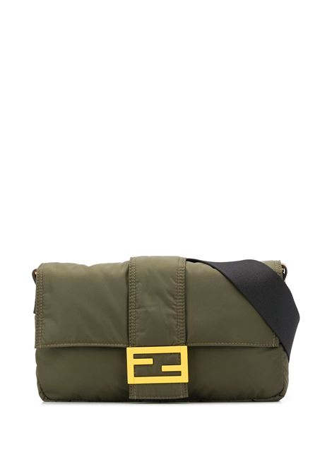 Army-green leather and nylon-blend Baguette messenger bag featuring yellow-tone hardware FENDI |  | 7VA472-AD1IF1BHW