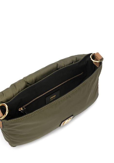 Borsa a tracolla Baguette in pelle verde militare e  nylon FENDI | Marsupi | 7VA472-AD1IF1BHW