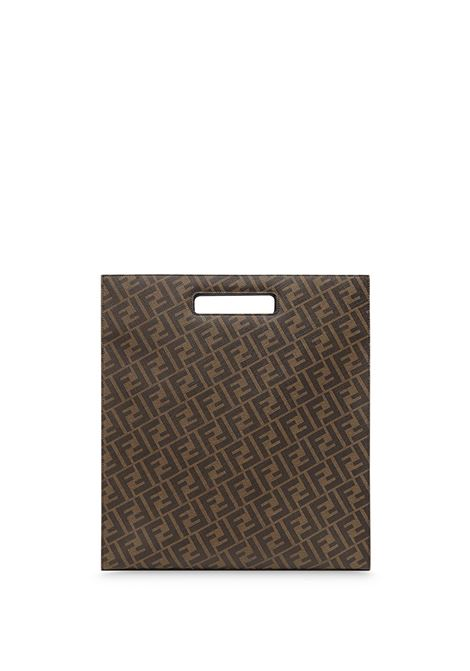 Brown and black cotton-blend and calf leather monogram-print tote bag featuring panelled design FENDI |  | 7VA481-A9XSF199B