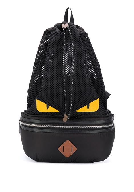 Black cotton and leather Bag Bugs backpack  FENDI |  | 7VZ055-AD1DF1BQC