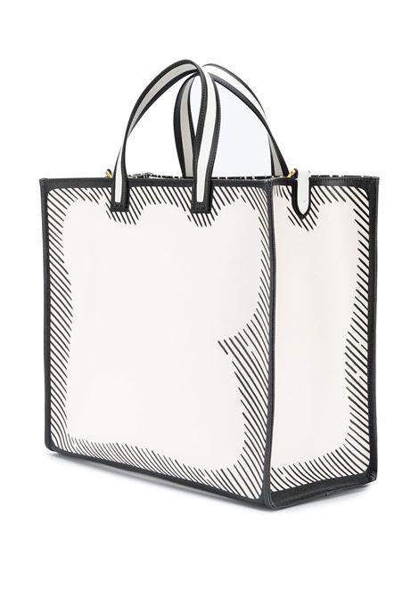 Borsa tote Fendi x Joshua Vides in pelle di vitello e cotone bianco e nero FENDI | Tote | 8BH357-ADBMF1C7A
