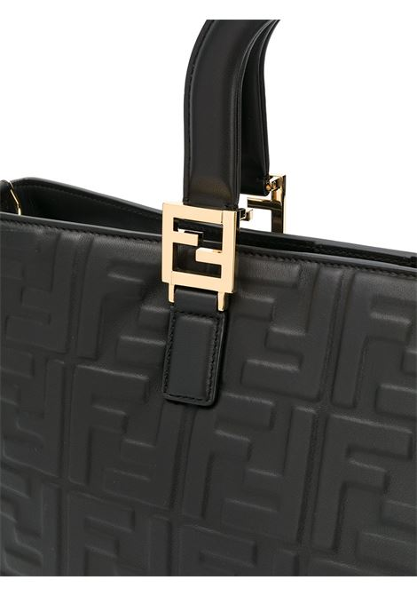 Black leather tote bag with gold details featuring FF motif all over print FENDI |  | 8BH368-A72VF0KUR