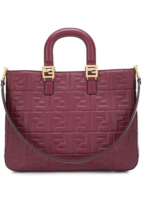 Dark red leather FF logo tote bag featuring two rounded top handles FENDI      8BH368-A72VF14MK