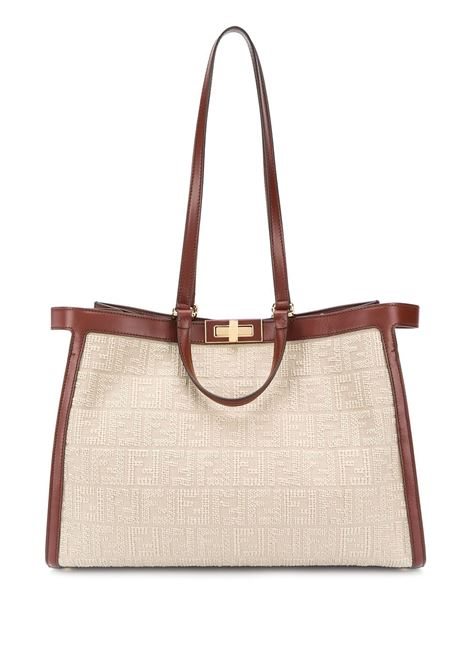 Neutrals contrast-detail Peekaboo shoulder bag featuring FF-logo embroidery FENDI |  | 8BH374-ACODF1C0W