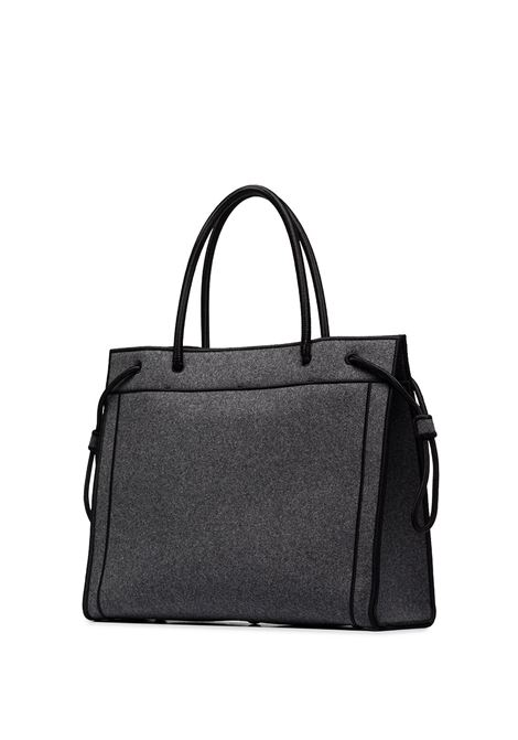 Grey and black canvas Fendi lettering embroidered logo tote bag  FENDI |  | 8BH379-AD6BF0RP3
