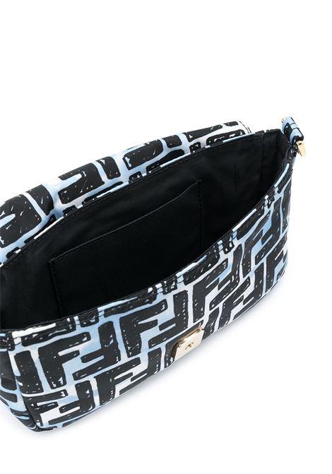 Celeste-blue Fendi x Joshua Vides Baguette crossbody bag featuring signature FF-pattern print FENDI |  | 8BR784-ADBDF1C78