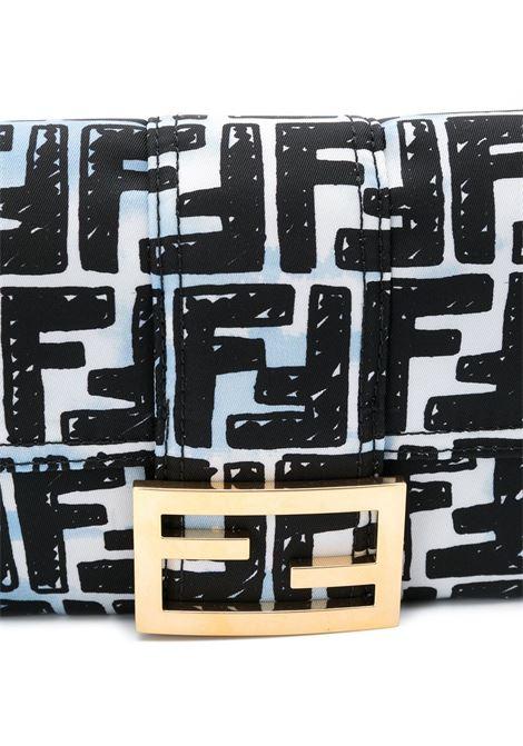 Borsa a tracolla Baguette Fendi x Joshua Vides celeste e nero con stampa con motivo FF all over FENDI | Borse a tracolla | 8BR784-ADBDF1C78