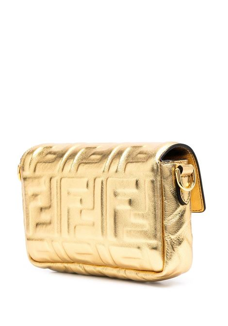 Gold-tone leather Mini Baguette crossbody bag featuring all over FF motif FENDI |  | 8BS017-AAF2F171Q
