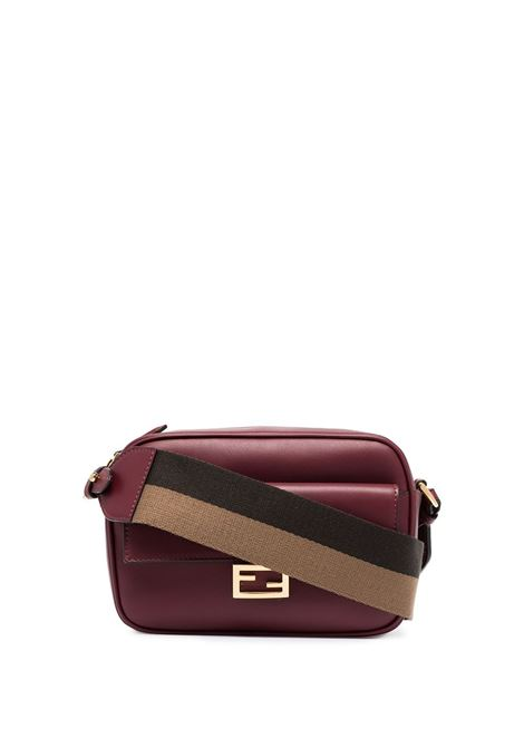 Camera bag in pelle bordeaux con tracolla marrone staccabile FENDI | Borse a tracolla | 8BS042-A5DYF14MK
