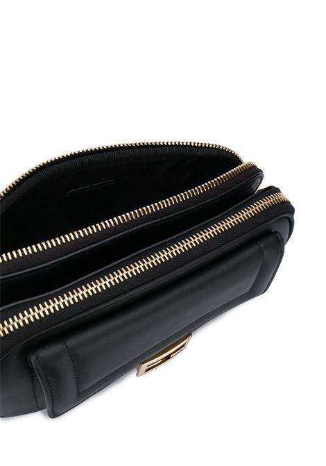 Black leather Easy 2 Baguette shoulder bag from  featuring gold chain-link shoulder strap FENDI |  | 8BS044-A5DYF0KUR