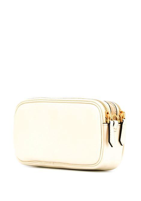 Mini bag Easy 2 Baguette in pelle beige e nera con placca con logo FF Fendi in oro FENDI | Borse a tracolla | 8BS044-ADC5F1BZY