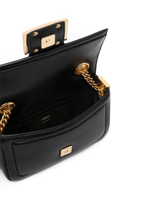 black calf leather Baguette shoulder bag featuring gold chain link strap FENDI |  | 8BS045-ACNXF15ZW