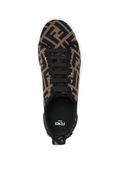 Sneakers platform con stampa Tabacco e logo FF Fendi all over FENDI | Sneakers | 8E8017-AD8DF0R7V