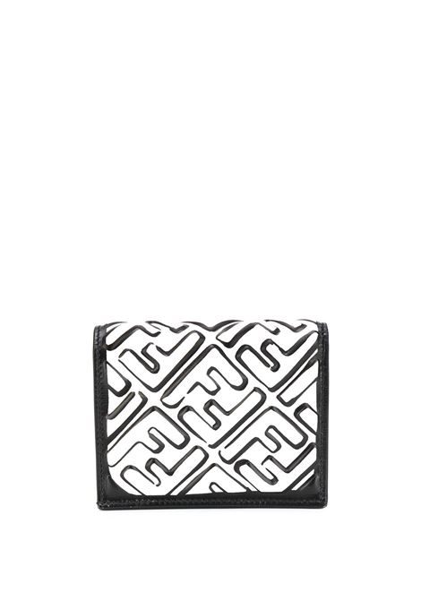 Black and white lambskin Fendi x Joshua Vides California collection painted FF motif wallet  FENDI |  | 8M0420-AD62F0XCZ