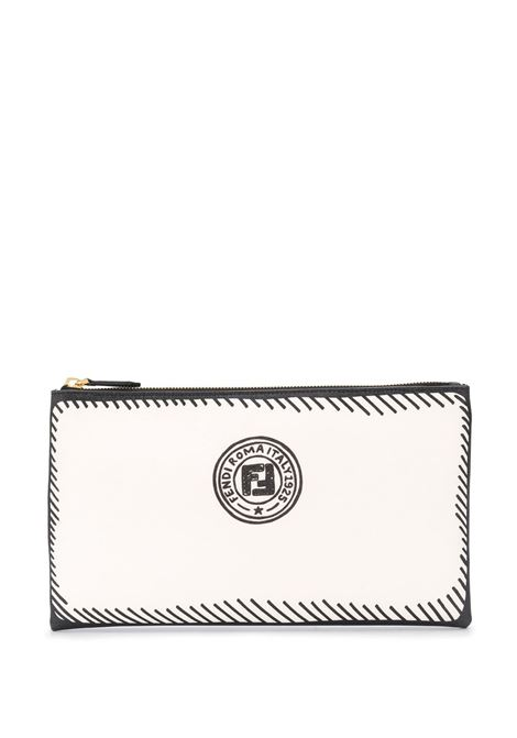 White and black leather Fendi x Joshua Vides California collection drawing effect clutch  FENDI |  | 8N0149-ADBSF1C7A