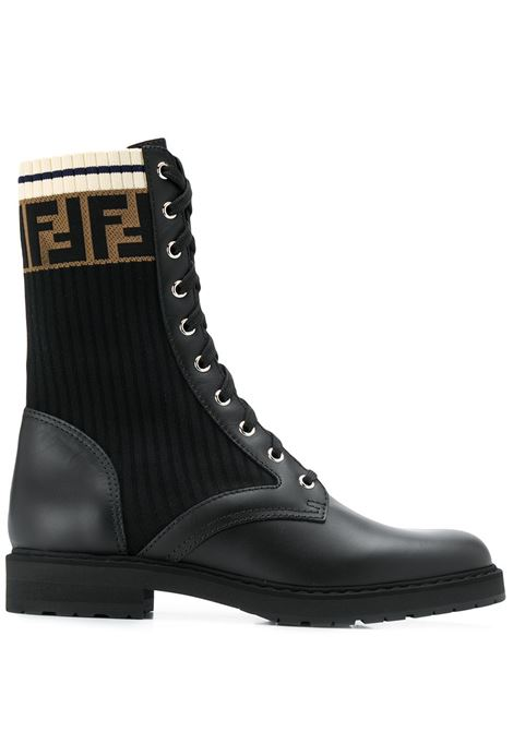 black calf leather ribbed Fendi logo panel boots featuring round toe FENDI |  | 8T6780-A3H4F13MC