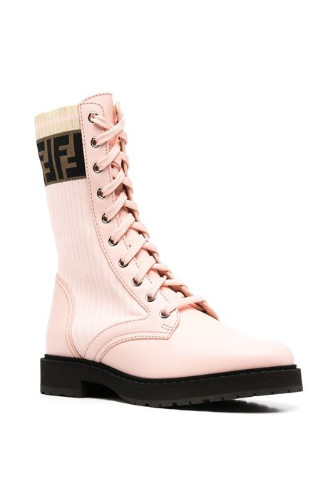 Pink and brown leather and fabric Rockoko combat boots FENDI |  | 8T6780-A3H4F1C3A