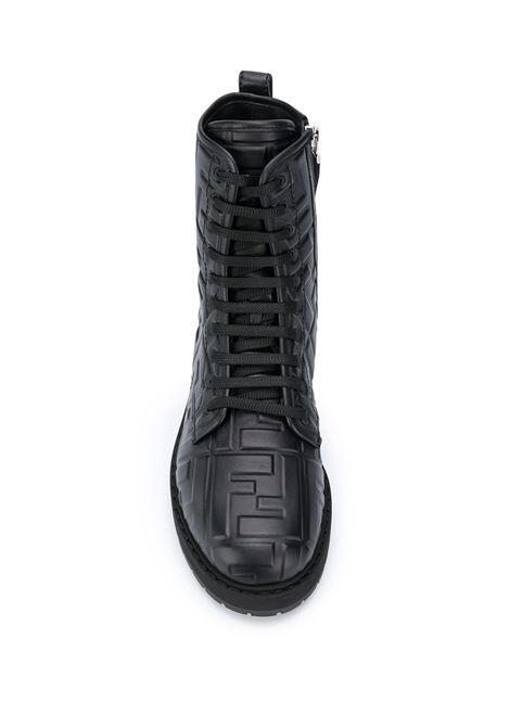 Black leather FF logo combat boots featuring round toe FENDI |  | 8T8018-AADSF0QA1