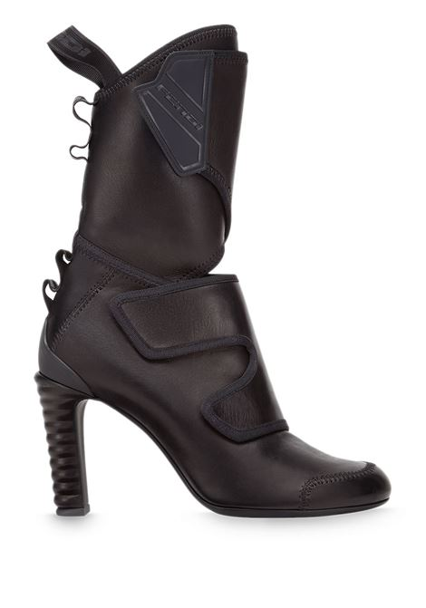 Black lambskin touch-strap mid-calf boots  FENDI |  | 8T8019-AEG0F1OS5