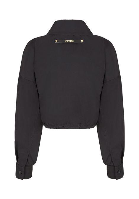 Giacca corta nera con taglio corto con toppa con logo Fendi FENDI | Giacche | FAA490-ADHQF0GME