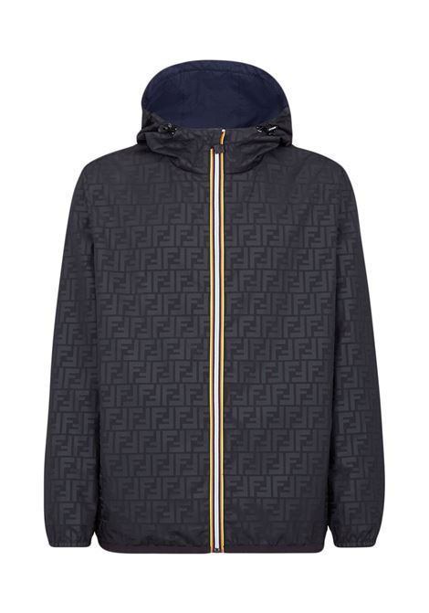 Blue reversible windbreaker jacket from FENDI x KWay  FENDI |  | FAA803-AERRF0D0C
