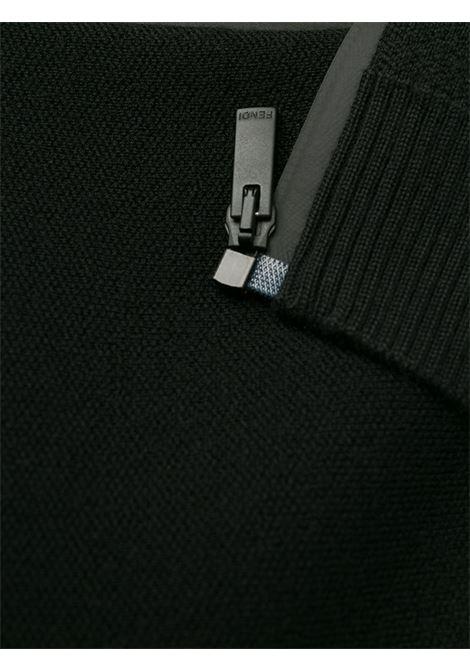 Cardigan in maglia di lana nera con chiusura frontale con zip FENDI | Cardigan | FAE532-A8K2F0GME